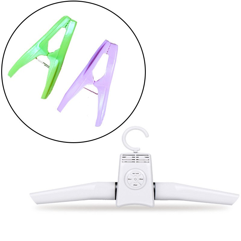 Intelligent Portable Hanger Dryer Household Small Drying Machine Clothes Shoes Quick Drying Rack European Standard(Send 2 clips, color random)
