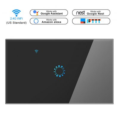Intelligent WIFI Touch Remote Control Switch Voice Control WIFI Smart Panel Switch (1 channel) black_US/Australian regulations