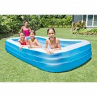 Intex 10ft x 2in Swim Center Family Backyard Inflatable Kiddie Swimming Pool Light blue