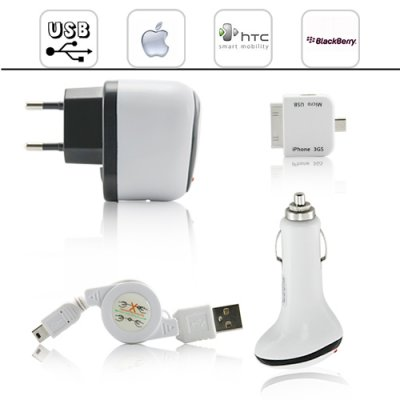 Universal 4 in 1 iPhone USB Adapter + Charger