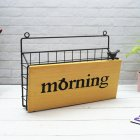 Iron Art Wall Hanging Letter Storage Basket for Gate Porch Garden Decoration 31*7.5*22.8cm_Morning