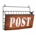 Iron Art Wall Hanging Letter Storage Basket for Gate Porch Garden Decoration 31*7.5*22.8cm_POST