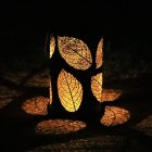 Iron Solar Lamp Hollowed Out Leaf Shadow Lantern Hanging Lighting Outdoor Landscape Light warm light