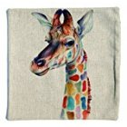 Ivenf Cotton Linen Throw Pillow Cover Case 18 x18   Colorful Imaginary Animals in Your Dream  Giraffe