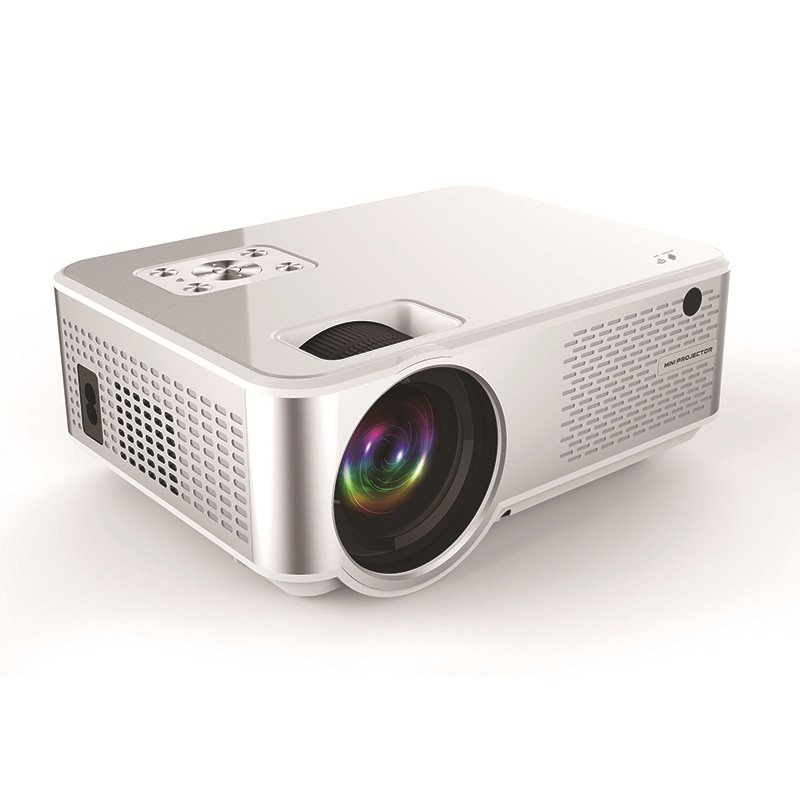 C9UP Android Projector 1280*720P Support 4K Videos Via HDMI Home Cinema Movie Video Projector Silver white_European regulations
