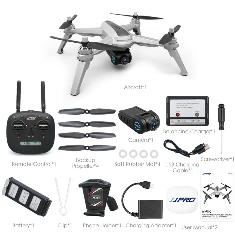 JJRC JJPRO X5 5G WiFi FPV RC Drone GPS Positioning Altitude Hold 1080P Camera Brushless Motor 3 battery