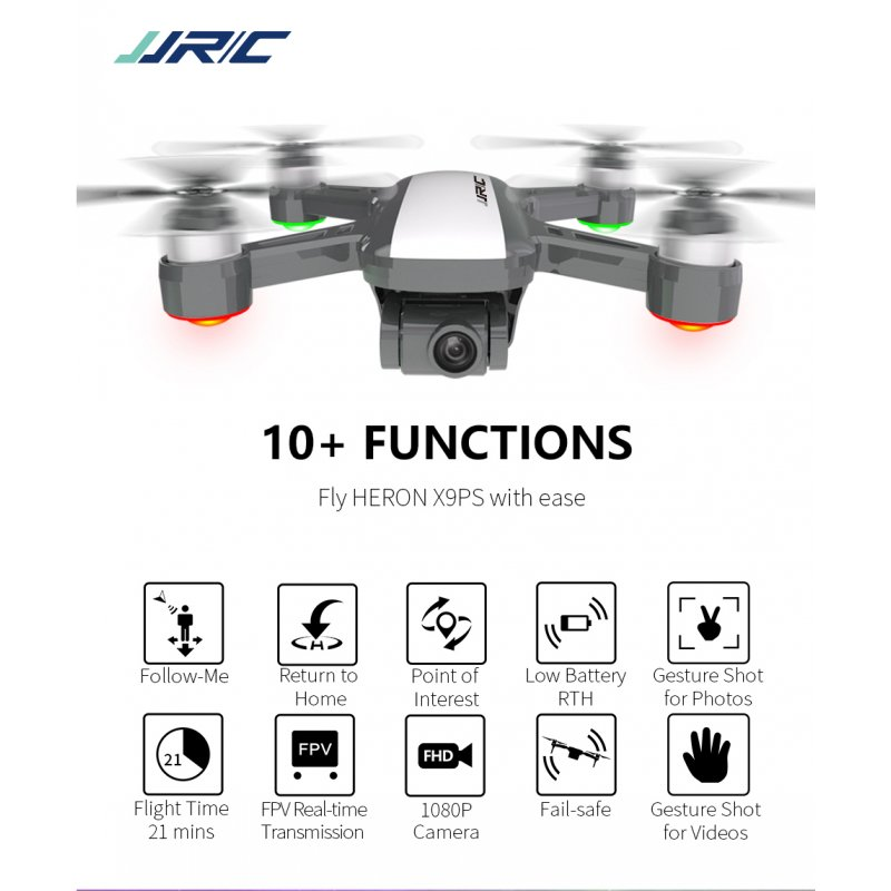 JJRC X9P Dual GPS RC Drone Heron 4K 5G WiFi Quadcopter 1KM FPV with 2-Axis Gimbal 50X Digital Zoom Optical Flow Positioning RTF 2 batteries