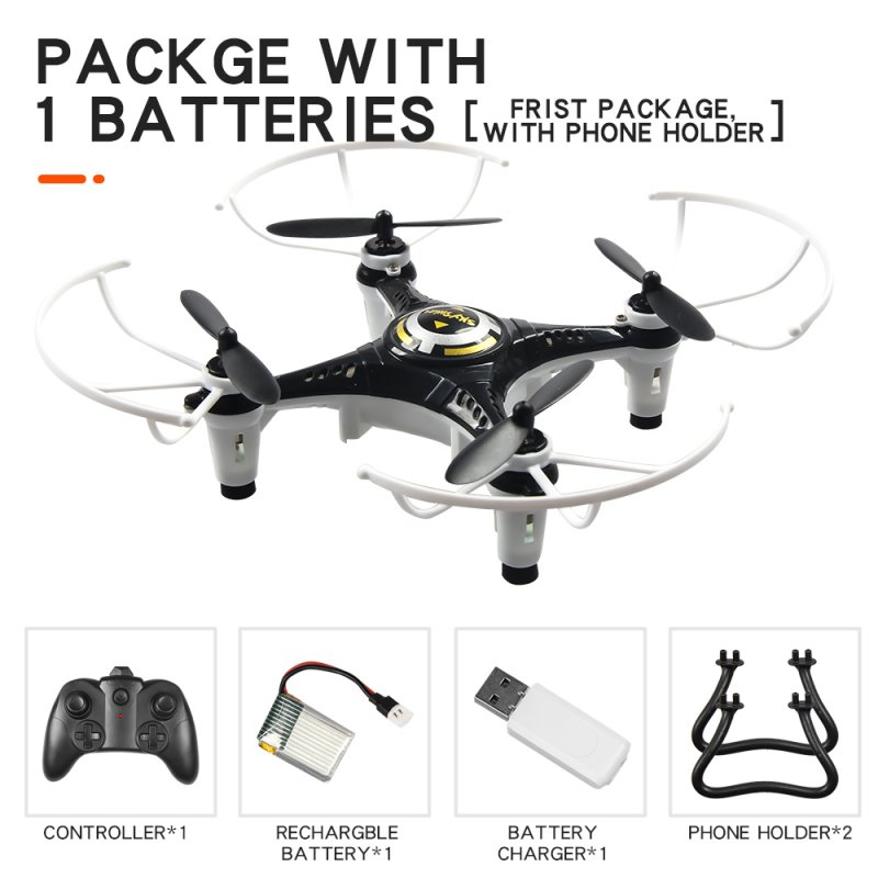 JX815-2 Mini 2.4GHz 4 Channel Drone 360° Rolling Quadcopter black 1 battery