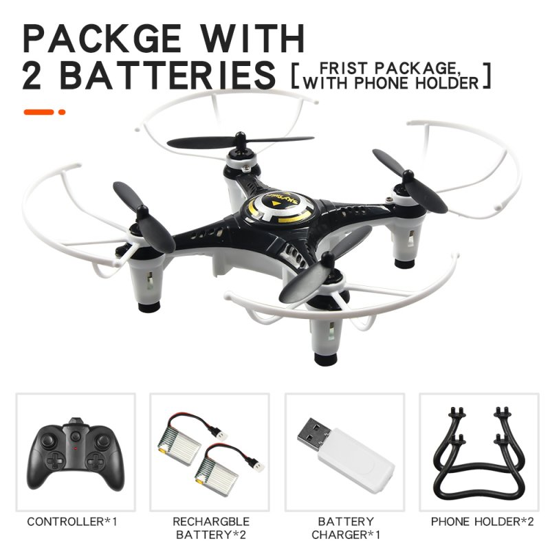 JX815-2 Mini 2.4GHz 4 Channel Drone 360° Rolling Quadcopter black 2 battery