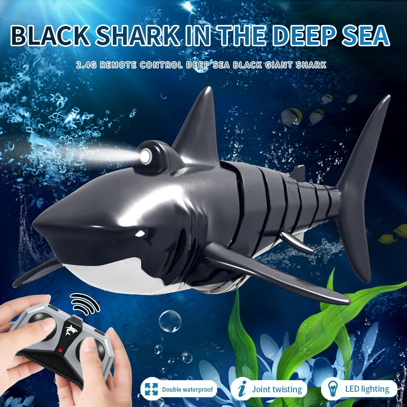 JY028 2.4G Remote Control Shark Boat Model Waterproof RC Toy Black and White