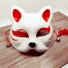 Japanese Fox Half Mask with Tassels and Small Bells Cosplay Mask for Masquerades Festival Costume Party Show