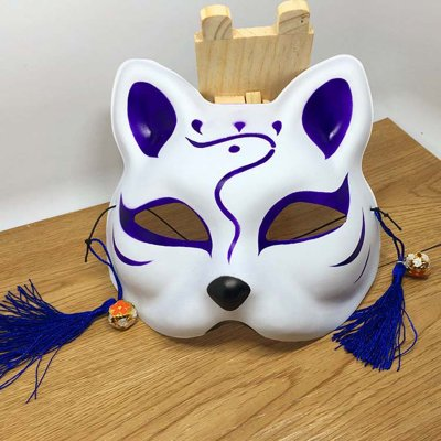 Japanese Fox Half Mask with Tassels