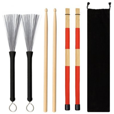 Jazz Drumsticks Set Include Bamboo Drum Sticks Steel Wire Brushes and Velvet Bag for Musical Instrument red
