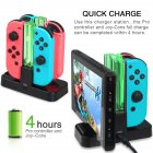 Joy-Con Charging Dock 4 in 1 USB Charging Dock Stand LED Indication for Nintend Switch Controller Charger Gamepad black