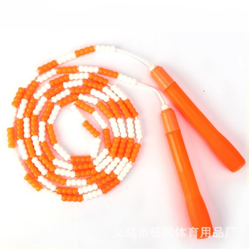 Jump Rope Plastic Beaded Segmented Training Workout Skipping Rope Orange