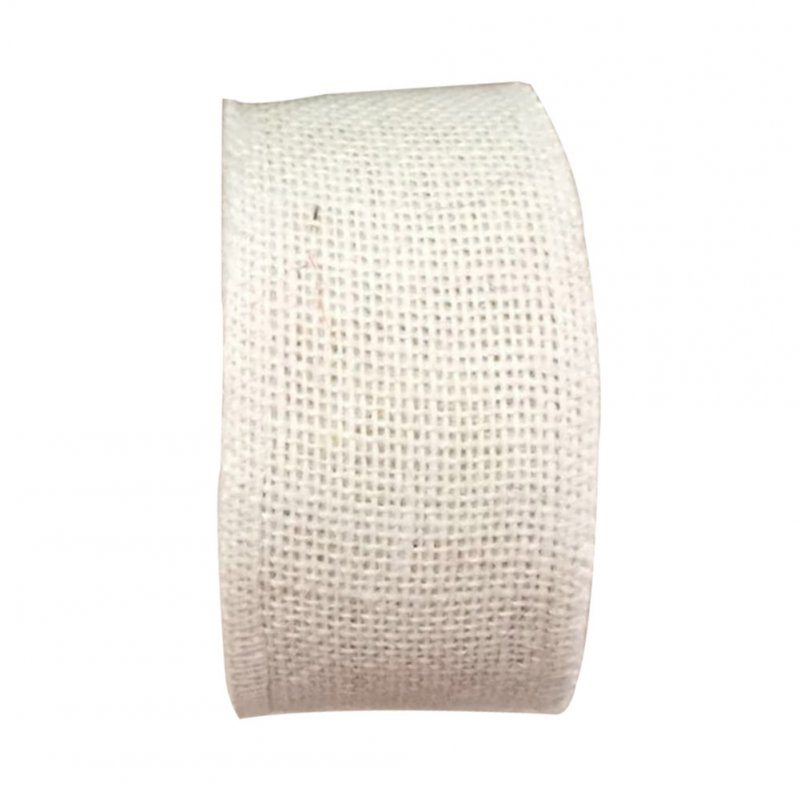 Jute Burlap Ribbon Roll for DIY Party Wedding Cake Holiday Craft Decoration 10m white_6cm