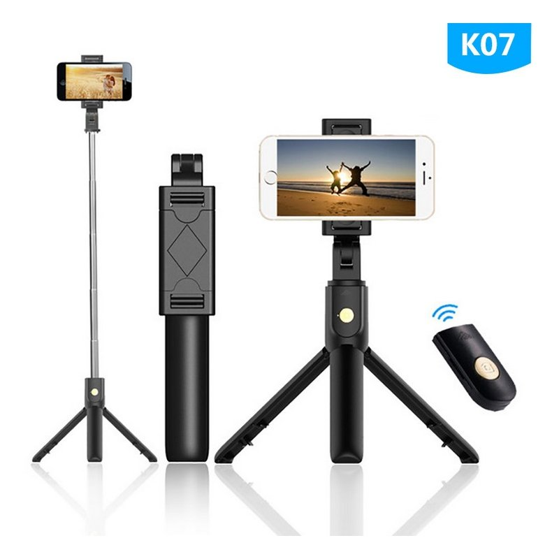 K07 Extendable Tripod with Detachable Wireless Remote and Tripod Stand Selfie Stick black