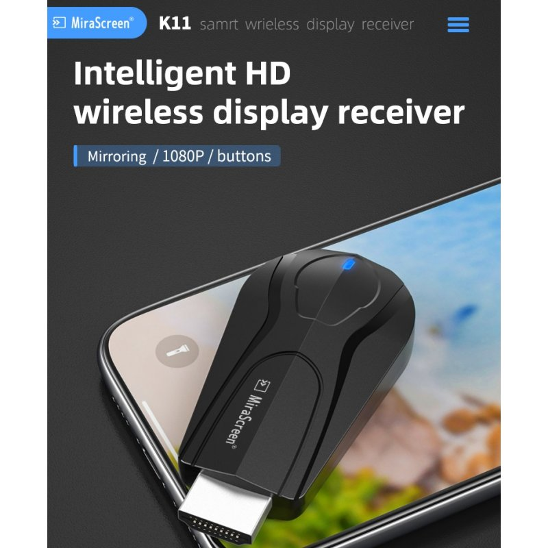 K11 HDMI 1080P wireless WiFi2.4G Supported Google protocol mirroring multiple device black