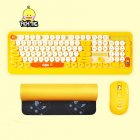 K68 Gaming Wireless Keyboard Mouse Combos Cute Retro Round Keycap Cartoon Personality Computer Peripherals for Desktop Laptop yellow