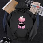 KAWS Men Women Cartoon Hoodie Sweatshirt Love Bear Thicken Autumn Winter Loose Pullover Black_S