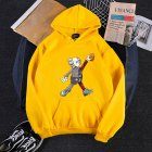KAWS Men Women Cartoon Hoodie Sweatshirt Walking Doll Thicken Autumn Winter Loose Pullover Yellow_M