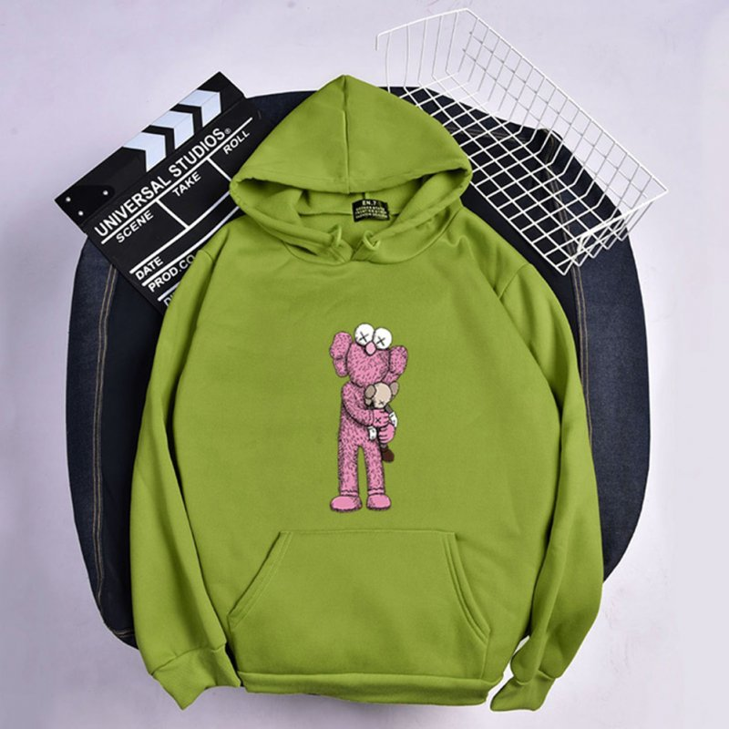 KAWS Men Women Cartoon Hoodie Sweatshirt Holding Doll Thicken Autumn Winter Loose Pullover Green_M