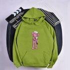 KAWS Men Women Cartoon Hoodie Sweatshirt Holding Doll Thicken Autumn Winter Loose Pullover Green_L