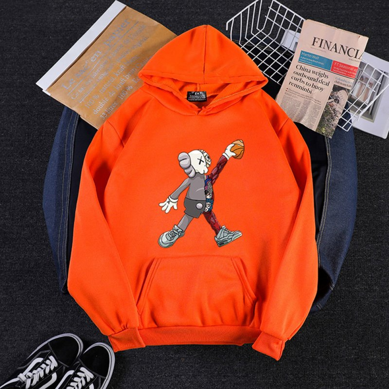 KAWS Men Women Cartoon Hoodie Sweatshirt Walking Doll Thicken Autumn Winter Loose Pullover Orange_M