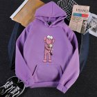 KAWS Men Women Cartoon Hoodie Sweatshirt Holding Doll Thicken Autumn Winter Loose Pullover Purple_M