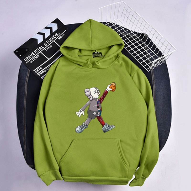 KAWS Men Women Hoodie Sweatshirt Cartoon Walking Doll Thicken Autumn Winter Loose Pullover Green_L