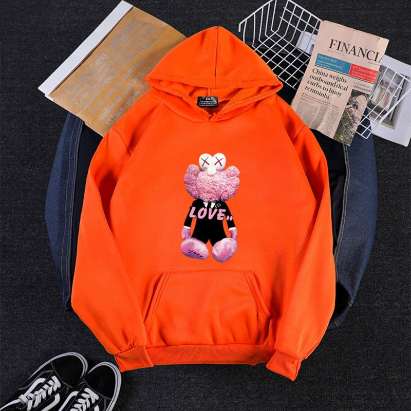 KAWS Men Women Hoodie Sweatshirt Cartoon Love Bear Thicken Autumn Winter Loose Pullover Orange_XL
