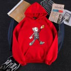 KAWS Men Women Hoodie Sweatshirt Cartoon Walking Doll Thicken Autumn Winter Loose Pullover Red XL