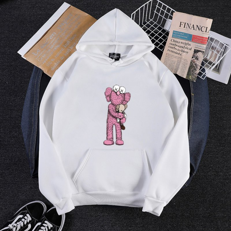 KAWS Men Women Hoodie Sweatshirt Cartoon Holding Doll Thicken Autumn Winter Loose Pullover White_XL