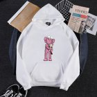 KAWS Men Women Hoodie Sweatshirt Cartoon Holding Doll Thicken Autumn Winter Loose Pullover White_M