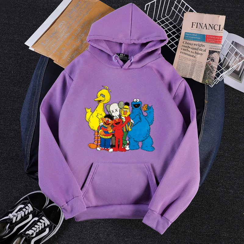 KAWS Men Women Hoodie Sweatshirt Cartoon Animals Thicken Autumn Winter Loose Pullover Purple_M