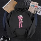 KAWS Men Women Hoodie Sweatshirt Cartoon Holding Doll Thicken Autumn Winter Loose Pullover Black_L