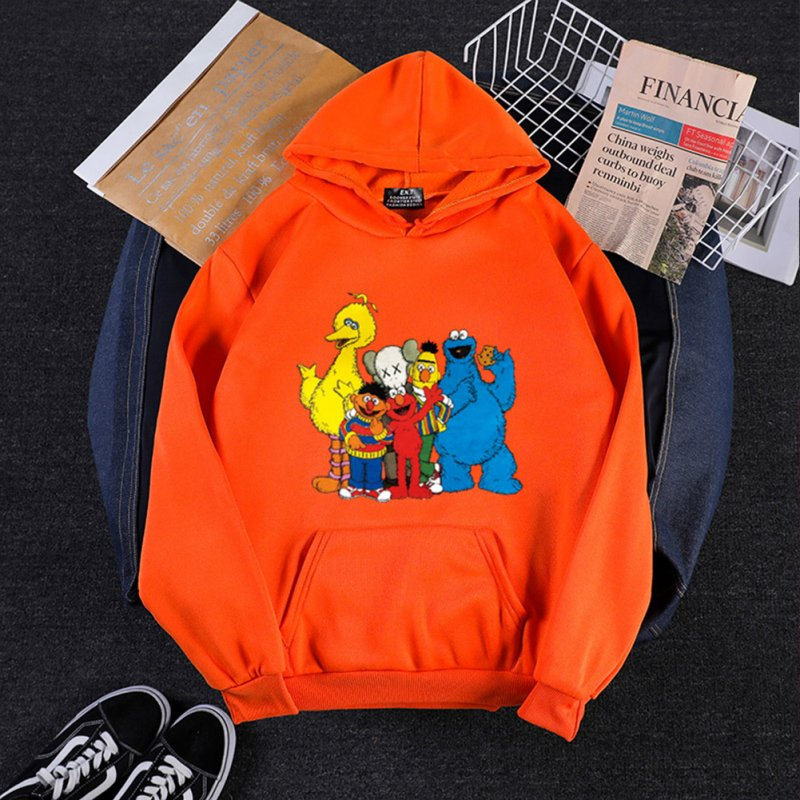 KAWS Men Women Hoodie Sweatshirt Cartoon Animals Thicken Autumn Winter Loose Pullover Orange_XXL