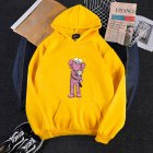 KAWS Men Women Hoodie Sweatshirt Holding Doll Cartoon Thicken Autumn Winter Loose Pullover Yellow_M