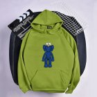 KAWS Men Women Hoodie Sweatshirt Cartoon Standing Doll Thicken Autumn Winter Loose Pullover Green_XXL