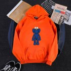 KAWS Men Women Hoodie Sweatshirt Cartoon Standing Doll Thicken Autumn Winter Loose Pullover Orange_M