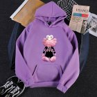 KAWS Men Women Hoodie Sweatshirt Cartoon Love Bear Thicken Autumn Winter Loose Pullover Purple_L
