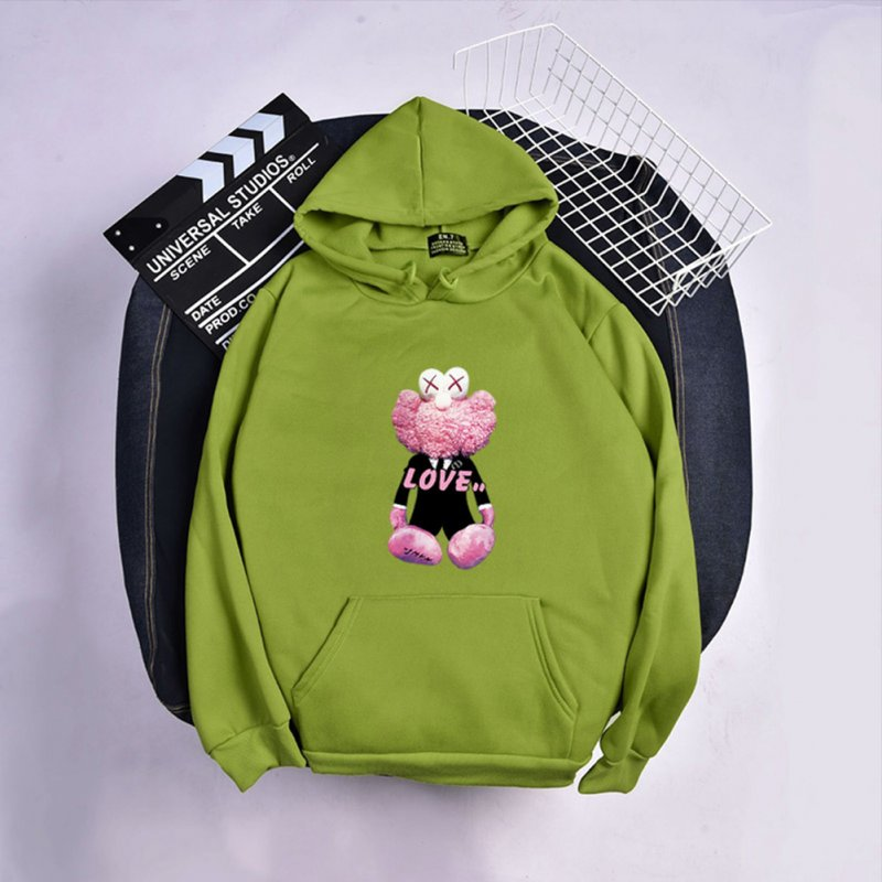 KAWS Men Women Hoodie Sweatshirt Love Bear Cartoon Thicken Autumn Winter Loose Pullover Green_XXXL