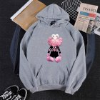 KAWS Men Women Hoodie Sweatshirt Love Bear Cartoon Thicken Autumn Winter Loose Pullover Gray_L