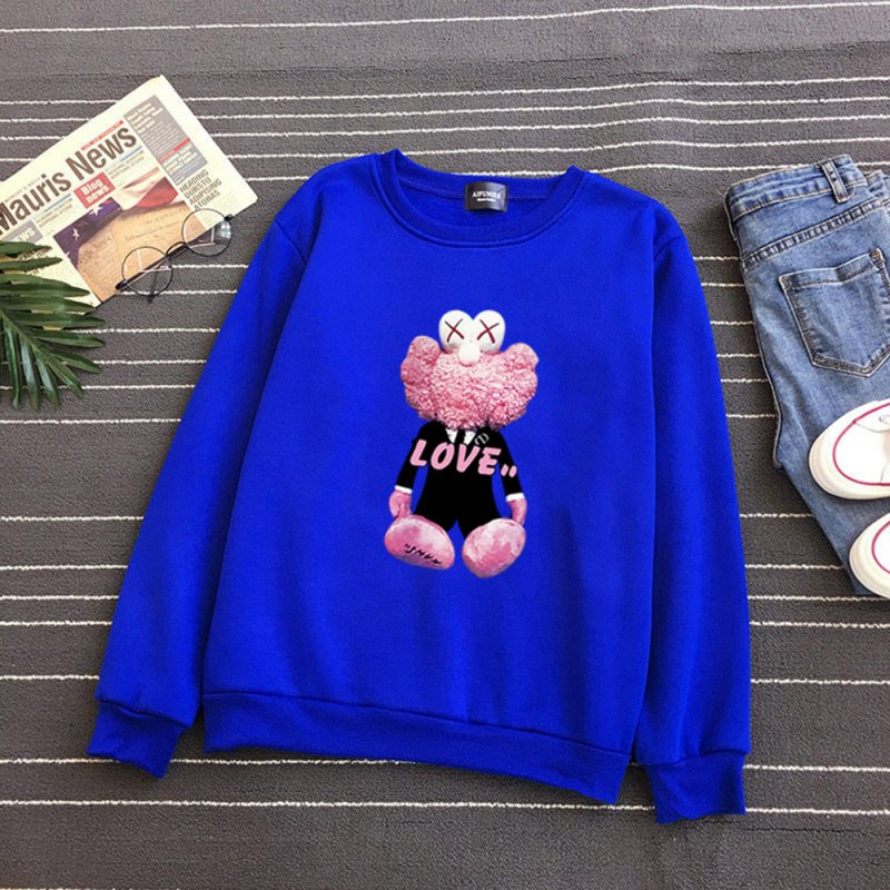 KAWS Men Women Hoodie Sweatshirt Cartoon Love Doll Thicken Autumn Winter Loose Pullover Blue_XXXL