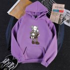 KAWS Men Women Hoodie Sweatshirt Climbing Doll Cartoon Thicken Autumn Winter Loose Pullover Purple_M