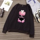 KAWS Men Women Hoodie Sweatshirt Cartoon Love Doll Autumn Winter Thicken Loose Pullover Black_S