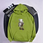 KAWS Men Women Hoodie Sweatshirt Climbing Doll Cartoon Thicken Autumn Winter Loose Pullover Green_XXXL