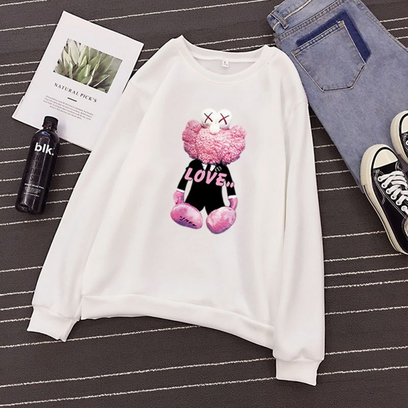 KAWS Men Women Hoodie Sweatshirt Cartoon Love Doll Autumn Winter Thicken Loose Pullover White_XL