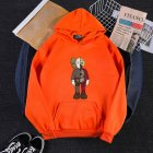 KAWS Men Women Hoodie Sweatshirt Cartoon Standing Doll Thicken Autumn Winter Loose Pullover Orange_L