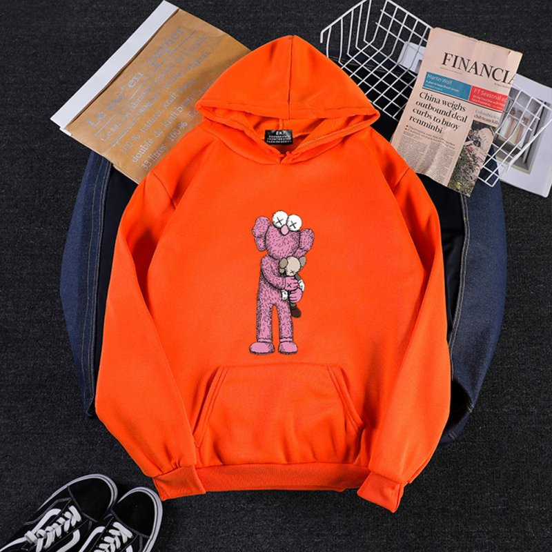KAWS Men Women Hoodie Sweatshirt Holding Doll Cartoon Thicken Autumn Winter Loose Pullover Orange_S